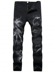 Zipper Fly Skull Graphic Jeans -