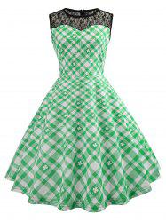 Lace Panel High Waist Checked Dress -
