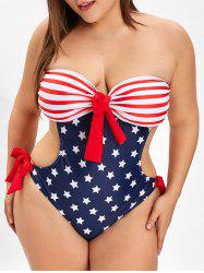 Plus Size American Flag Print Strapless Swimsuit -