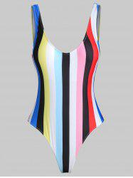 Rainbow Color Backless One-piece Swimwear -