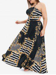 Striped and Floral Print Open Back Plus Size Maxi Dress -