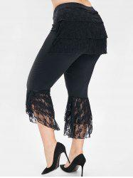 Plus Size High Waist Lace Panel Pants -