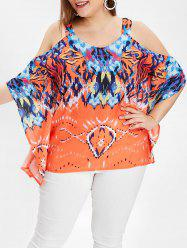 Plus Size Printed Cold Shoulder Top -