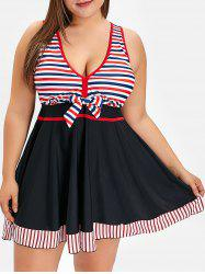 Plus Size Cut Out Striped Tankini Set -