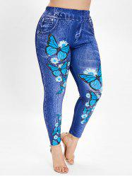 Butterfly Print Plus Size Elastic Waist Leggings -