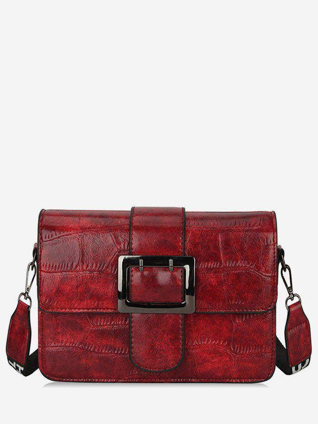 Chic Leather Striped Square Buckle Shoulder Bag