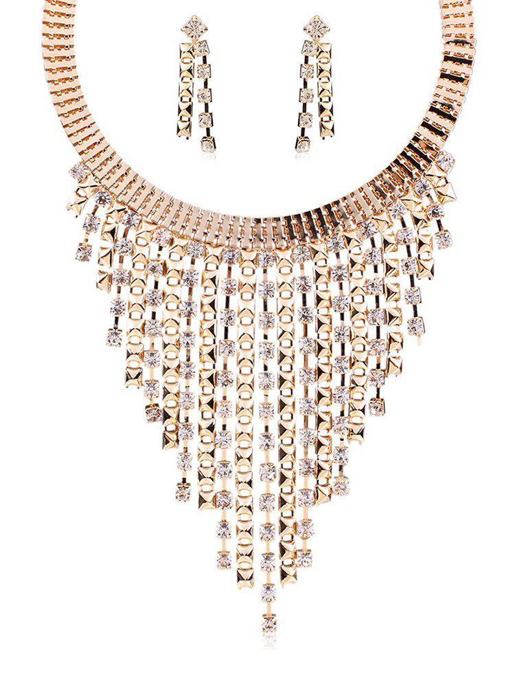 Latest Rhinestoned Statement Necklace with Earrings