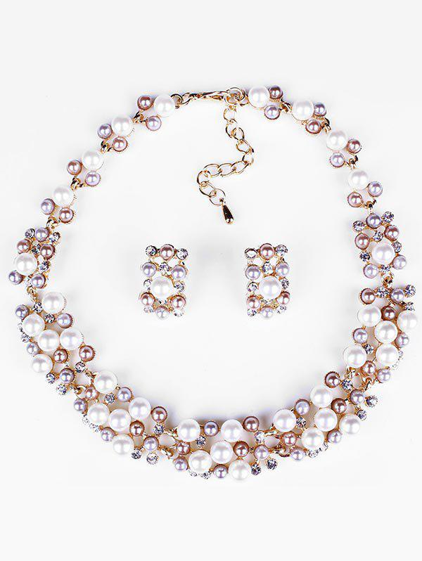 Fancy Rhinestoned Beading Statement Necklace with Earrings