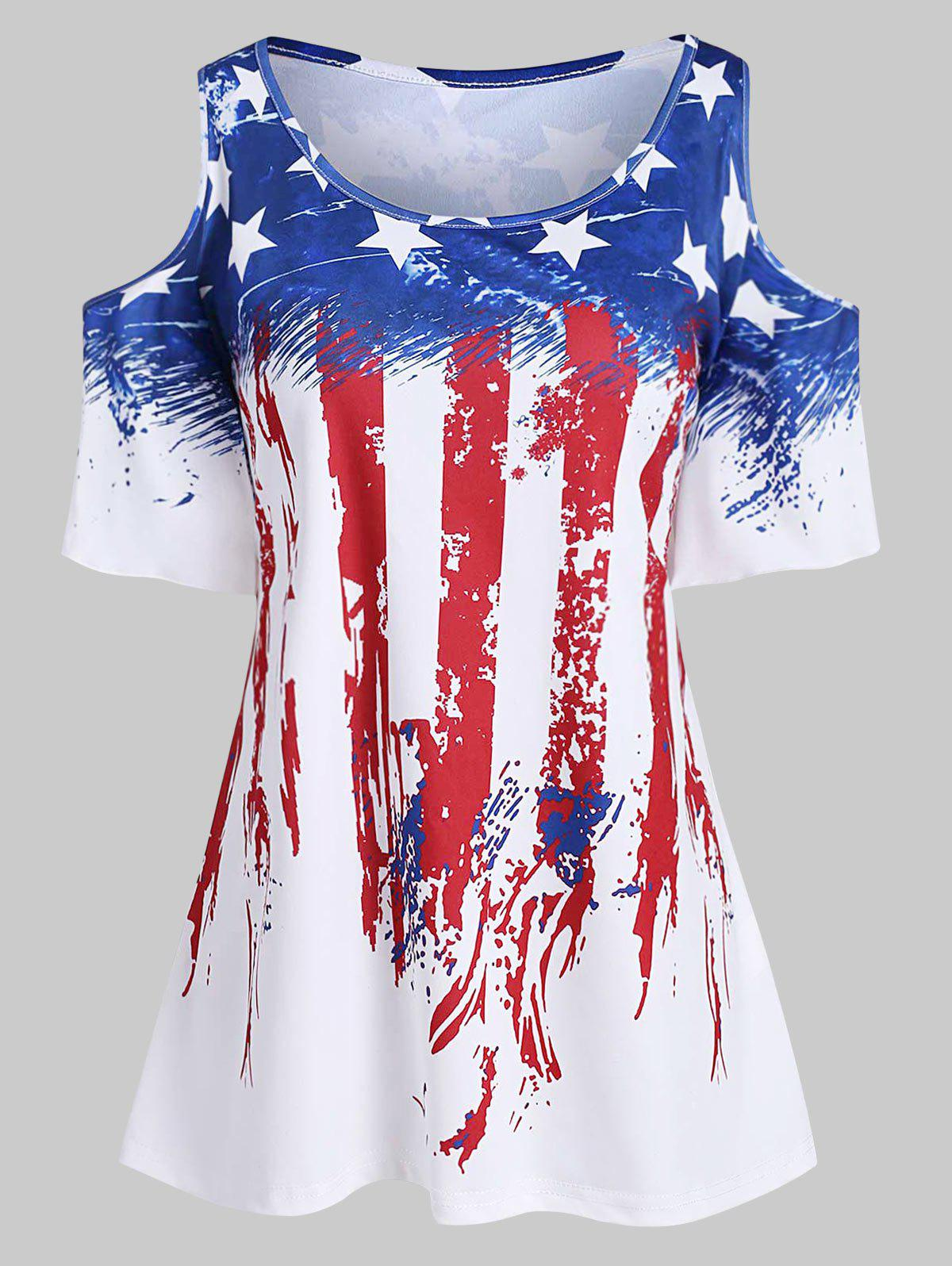 Cheap Plus Size American Flag Cold Shoulder T Shirt