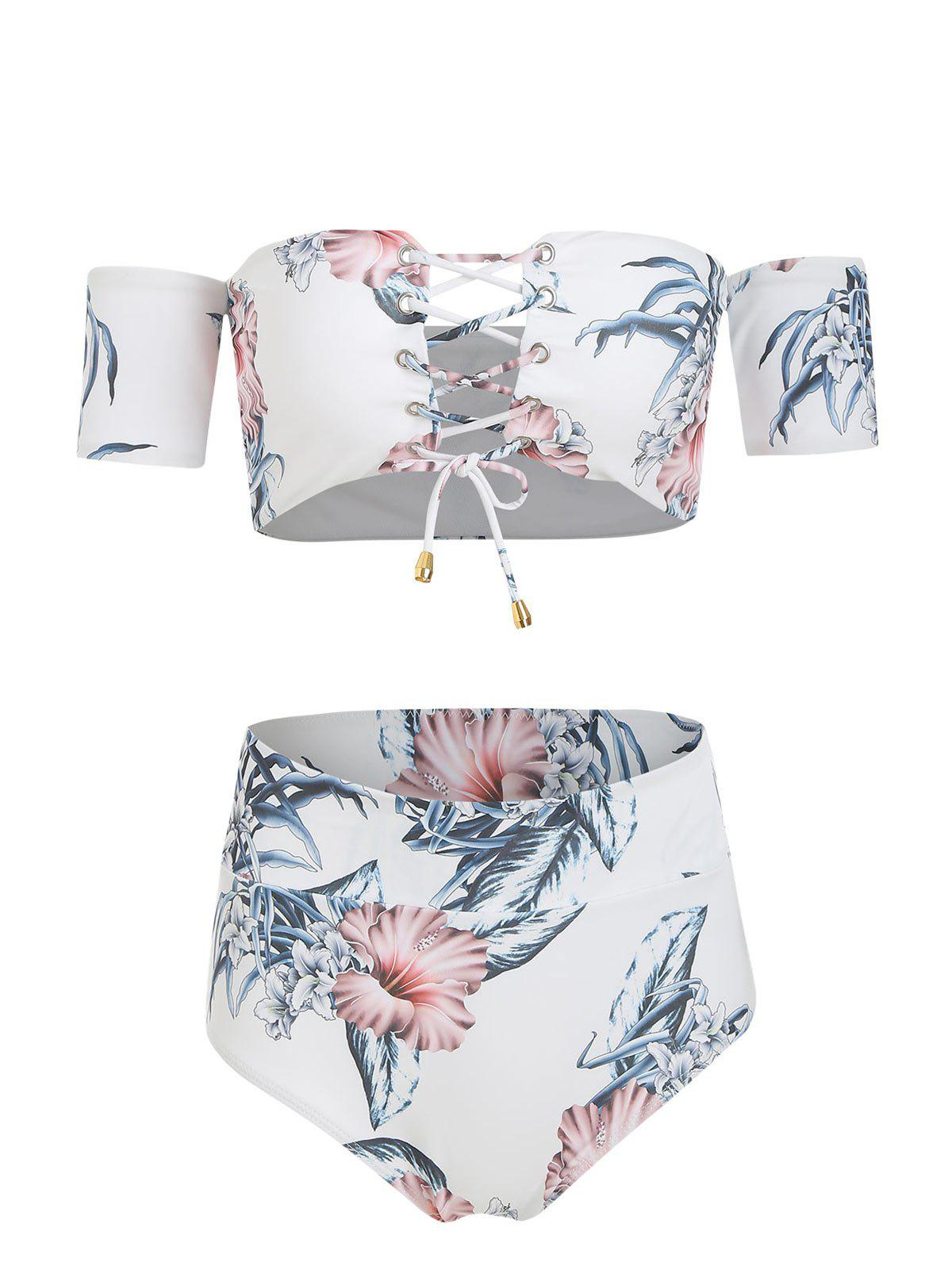 Sale Off The Shoulder Floral Print Lace Up Bikini Set