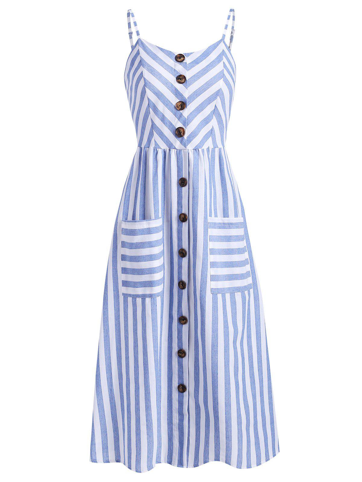 Online Buttoned Patch Pockets Midi Dress