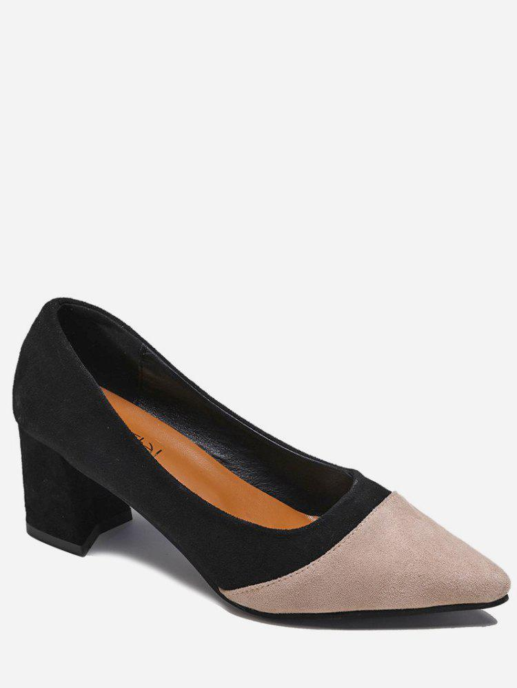 New Two Tone Pointed Toe Suede Pumps