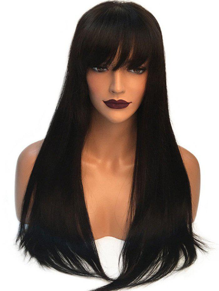 Hot Long Neat Fringe Straight Capless Synthetic Wig