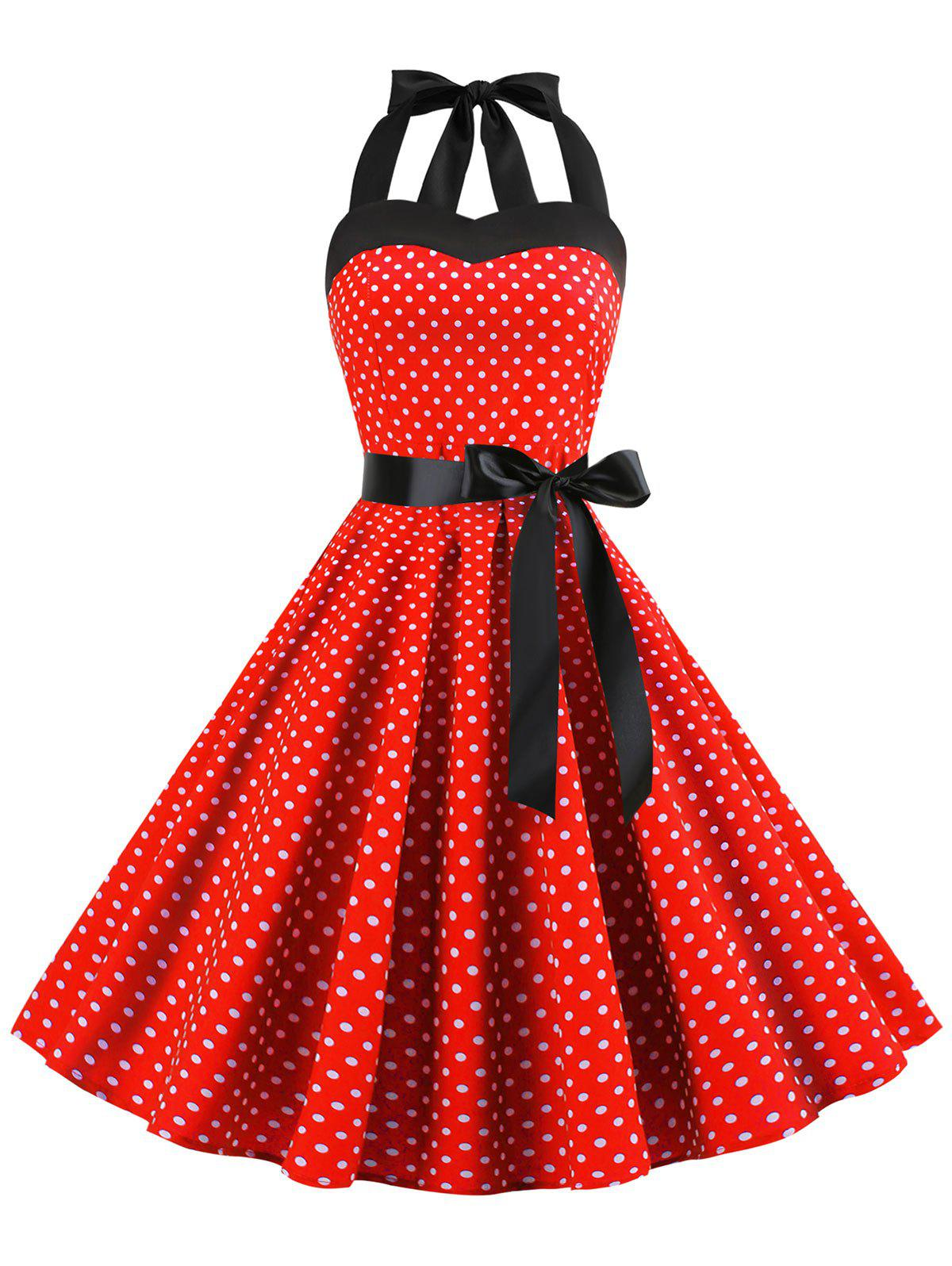 Trendy Lace Up Polka Dot Flare Dress