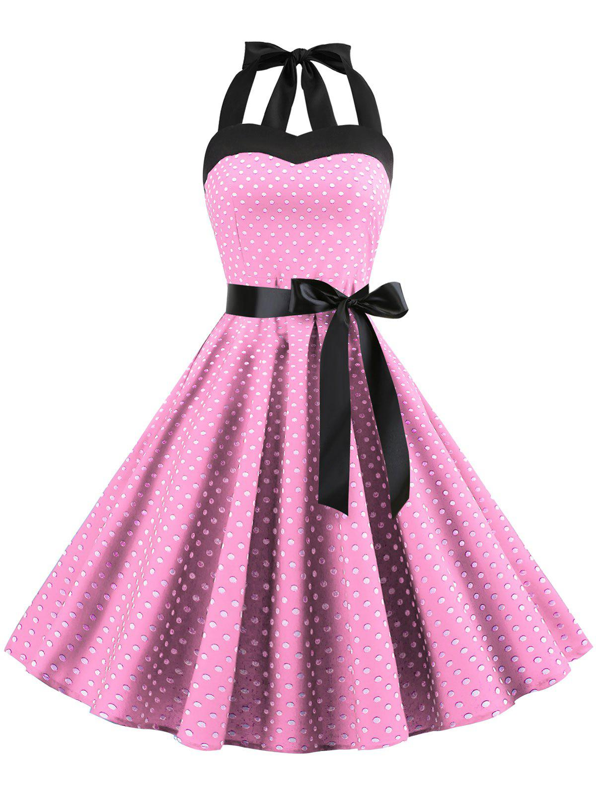 Fancy Lace Up Polka Dot Flare Dress