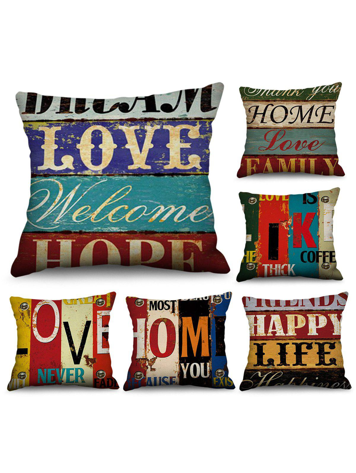 Best 6 Pcs Wood Grain Letters Print Decorative Linen Pillowcases