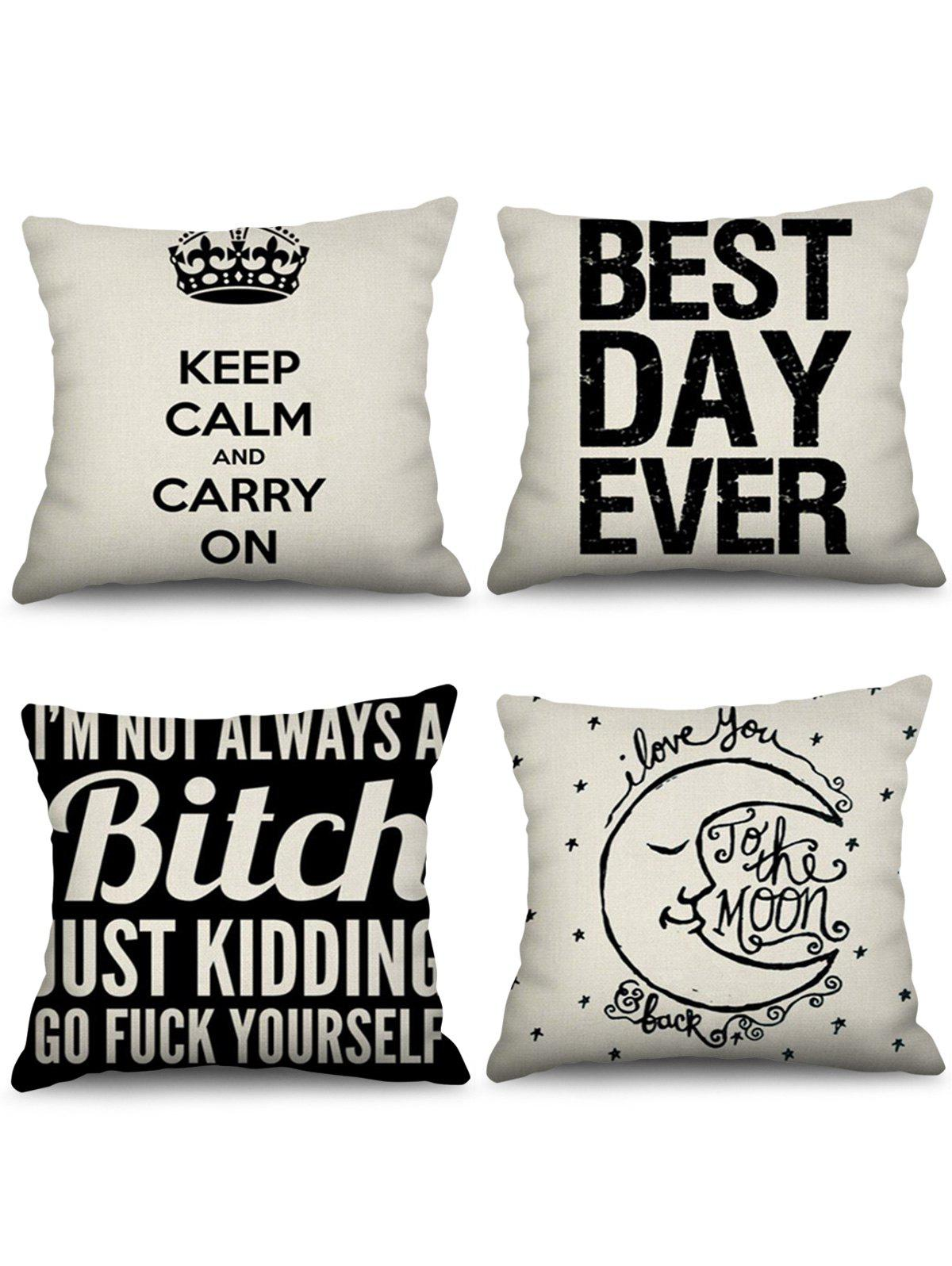 Sale 4 Pcs Letters Print Decorative Linen Pillowcases