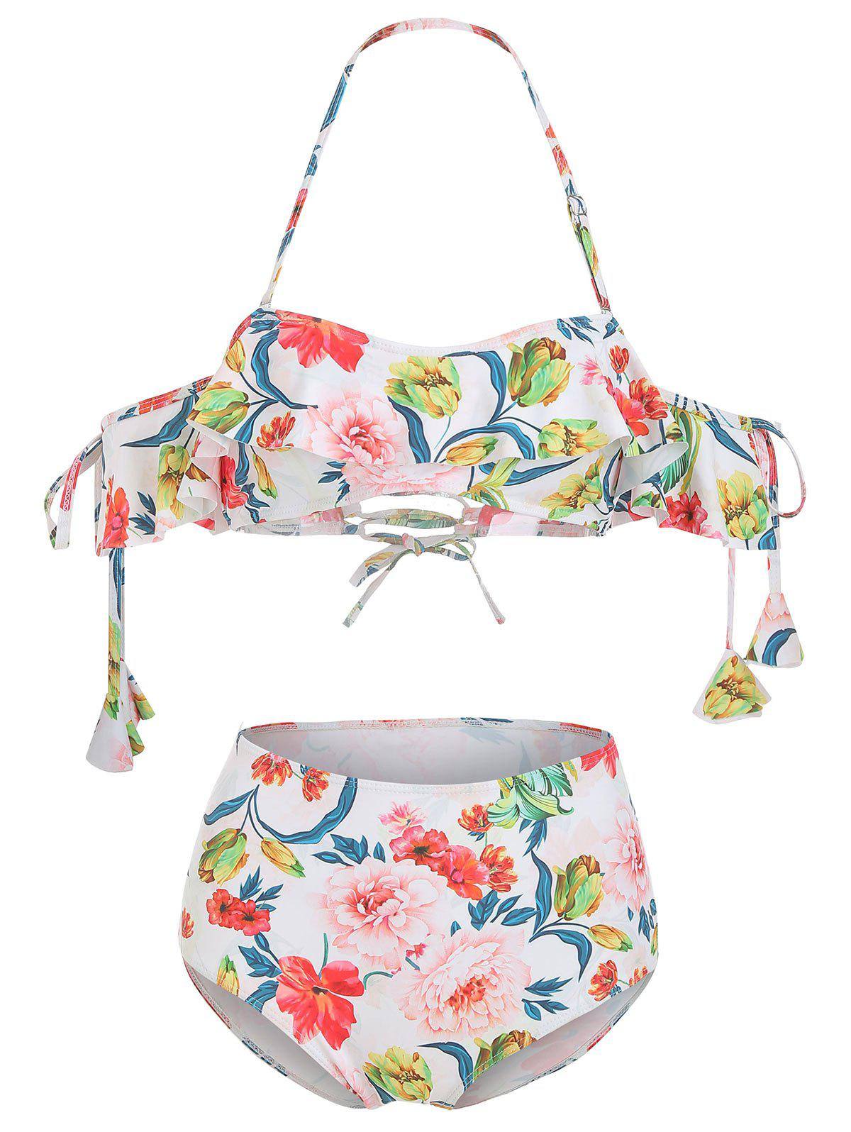 Online Off The Shoulder Floral Ruffled Bikini Set