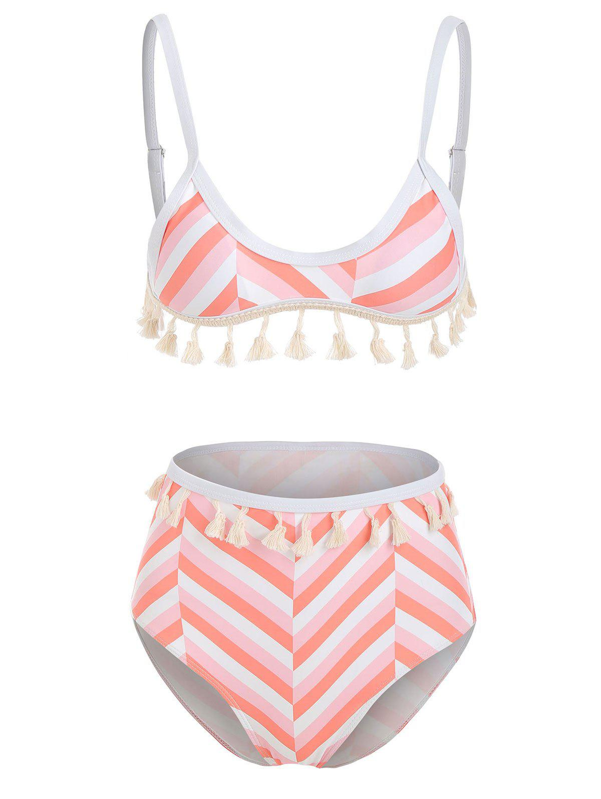 Latest Striped Tassels Bikini Set