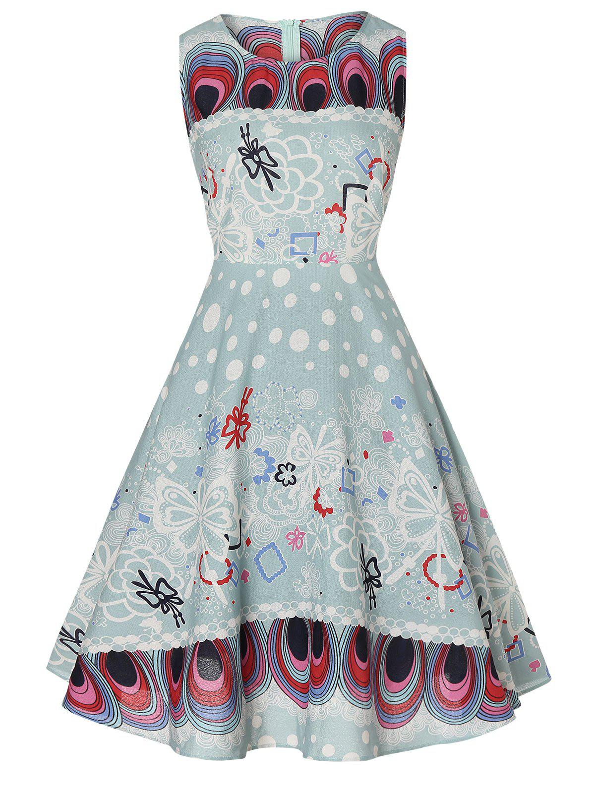 Sleeveless Fit and Flare Printed Dress фото