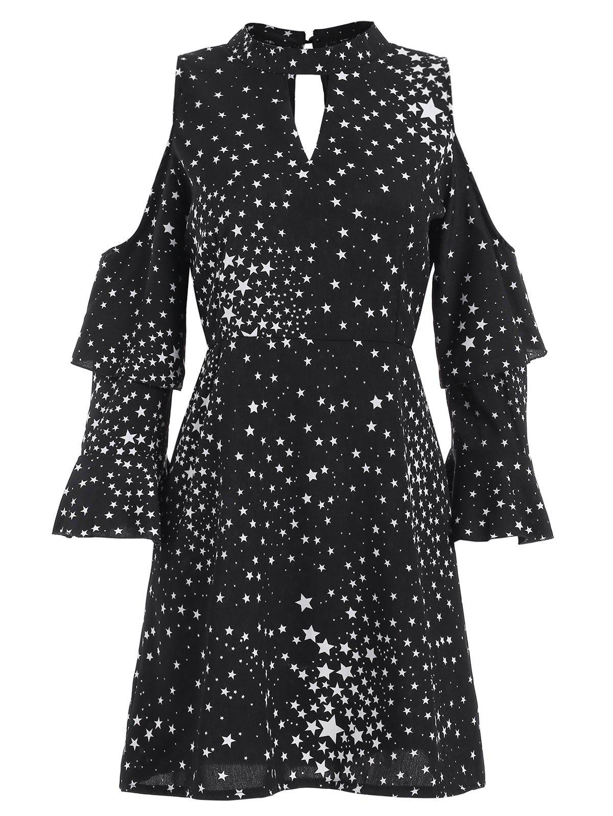 Sale Star Print Cut Out Mini Dress