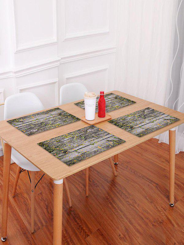 Hot Wood Grain Fallen Leaf Pattern Placemat