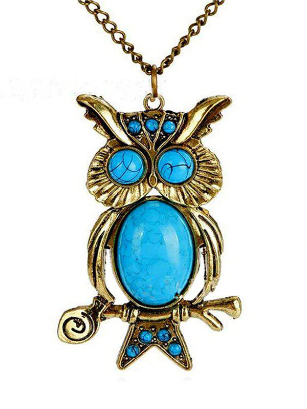 Chic Vintage Turquoise Night Owl Necklace