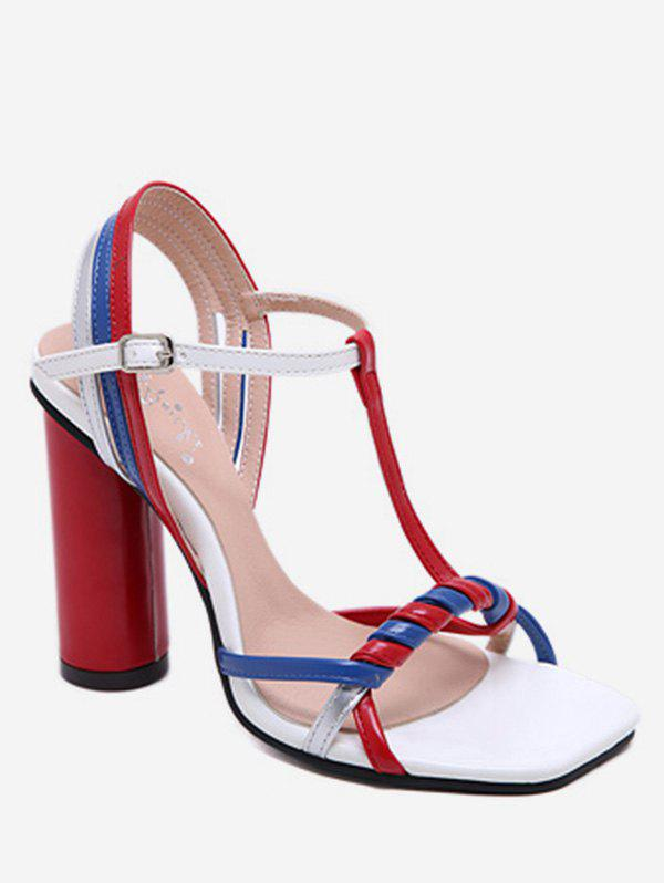 Chic Color Block T Strap Chunky Heel Sandals