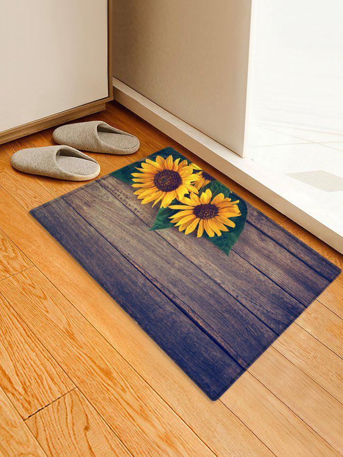 Fashion Wooden Sunflower Pattern Printed Floor Mat