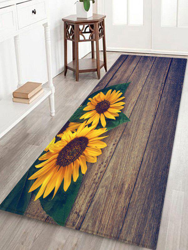 Outfit Wooden Sunflower Pattern Printed Floor Mat