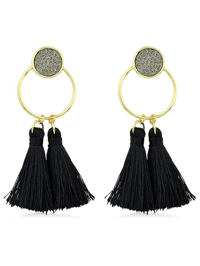 Latest Bohemia Metal Ring Fringe Drop Earrings