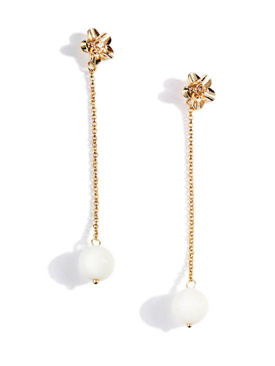 Chic Pearl Chain Dangle Floral Stud Earrings