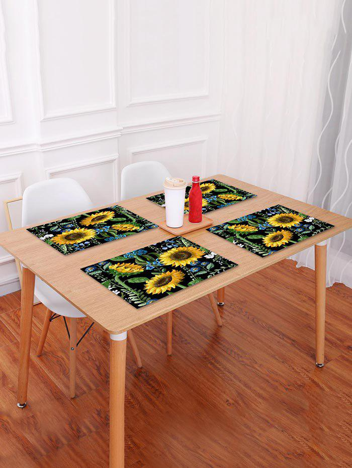 Trendy Sunflowers and Leaf Pattern Placemat