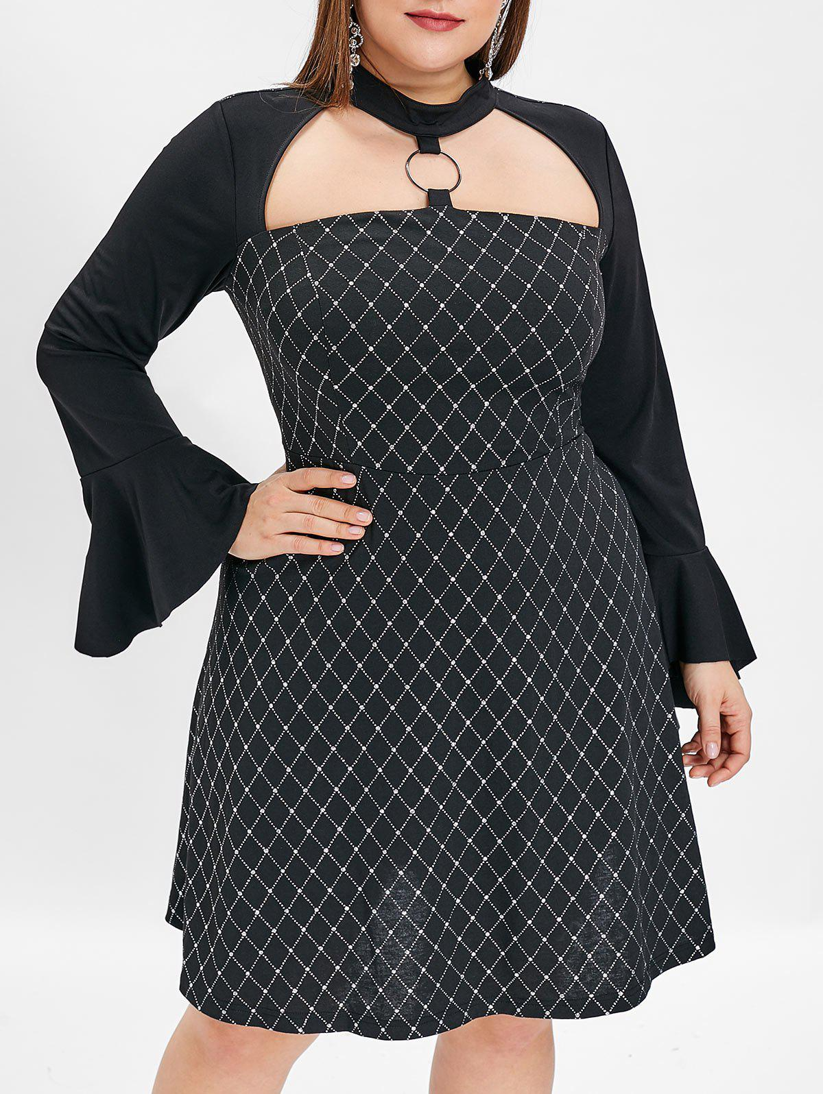 Affordable Flare Sleeve Plus Size Glitter A Line Dress