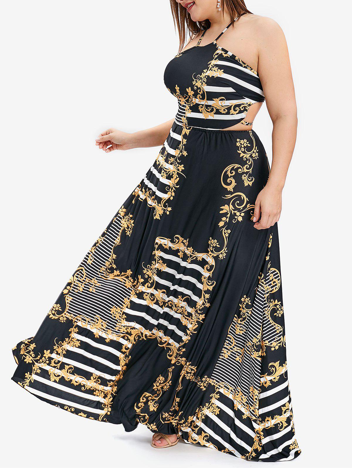 49% OFF] Striped And Floral Print Open Back Plus Size Maxi Dress ...