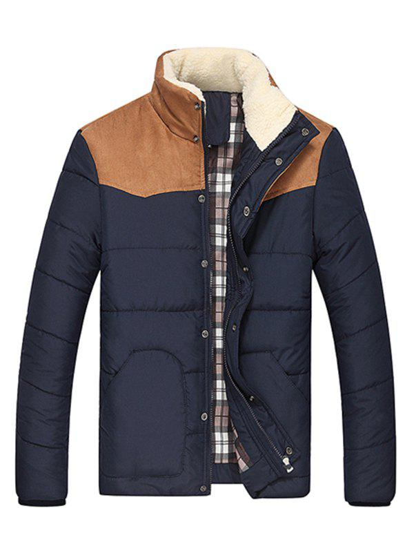 Latest Flocking Stand Collar Splicing Design Long Sleeve Thicken Men's Cotton-Padded Jacket