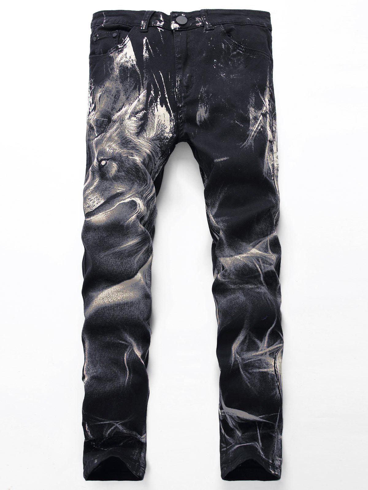 Zipper Fly Wolf Print Jeans