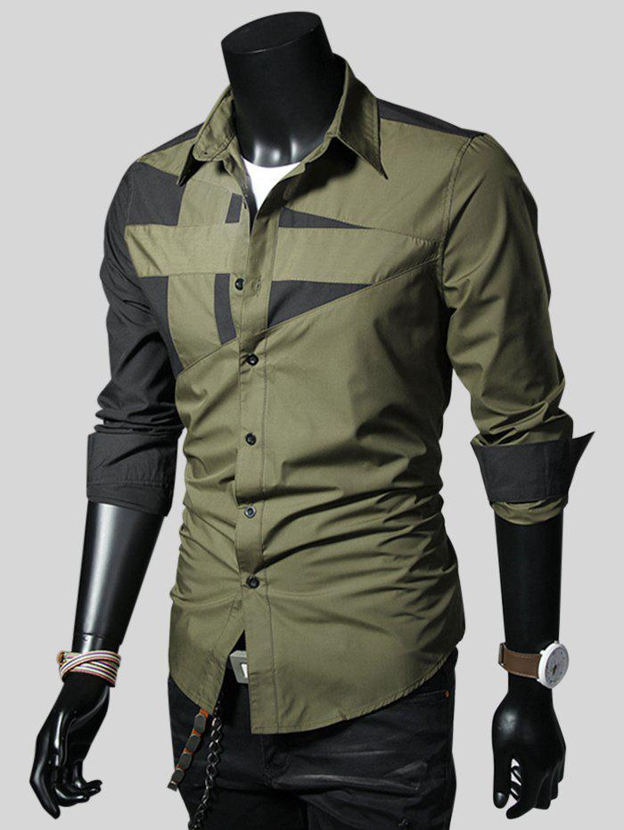 Color Blcok Long Sleeves Casual Shirt, Army green
