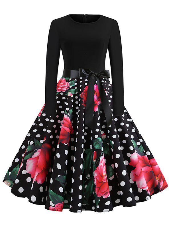Fashion Vintage High Waist Polka Dot Flare Dress