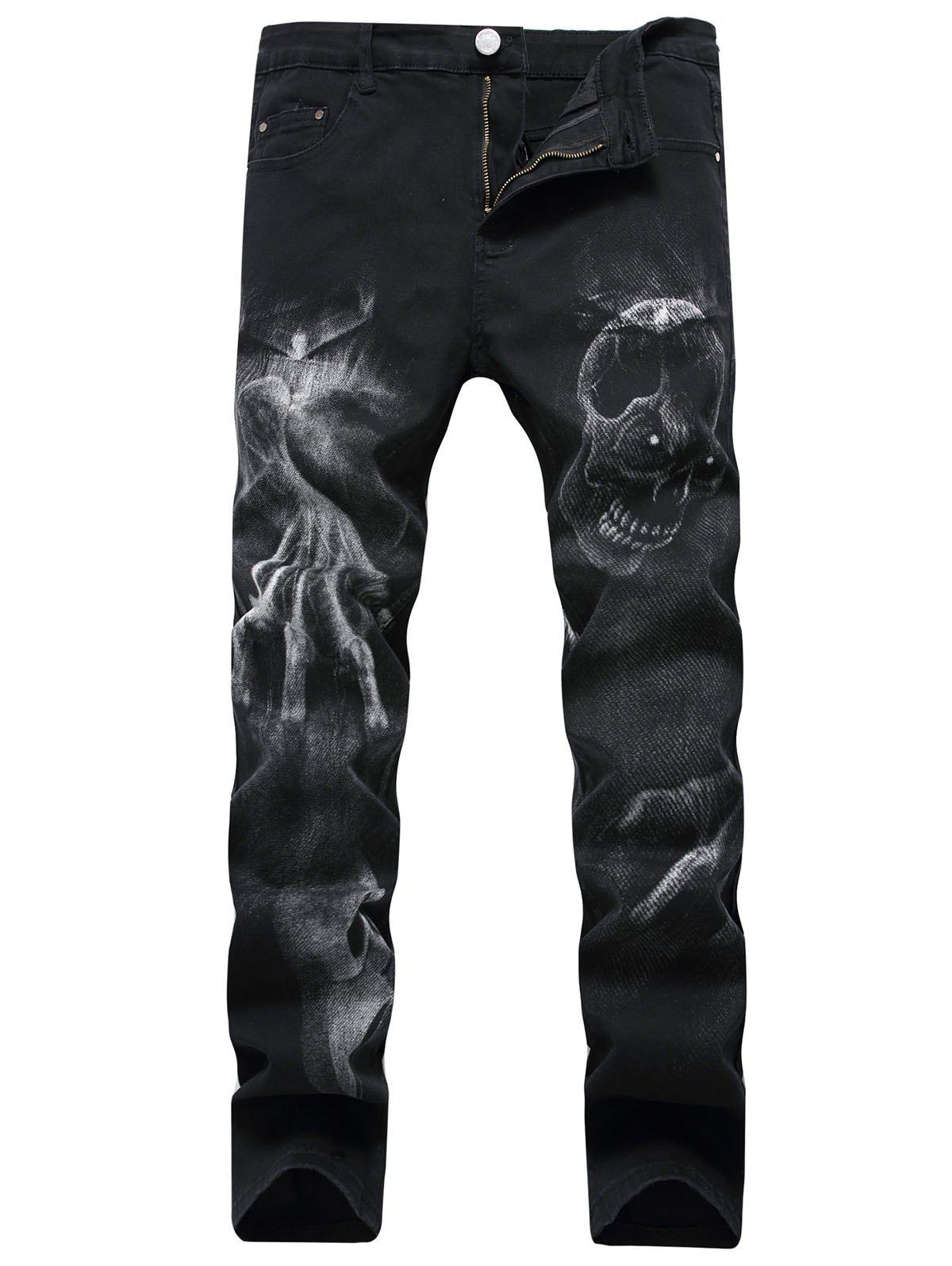 Fashion Zipper Fly Skull Graphic Jeans