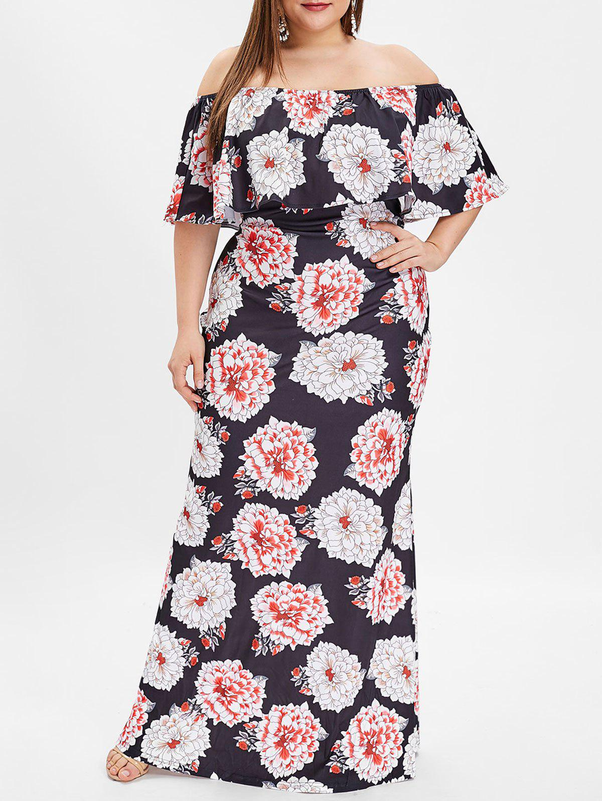 2019 Plus Size OFF The Shoulder Floral Print Maxi Dress | Rosegal.com