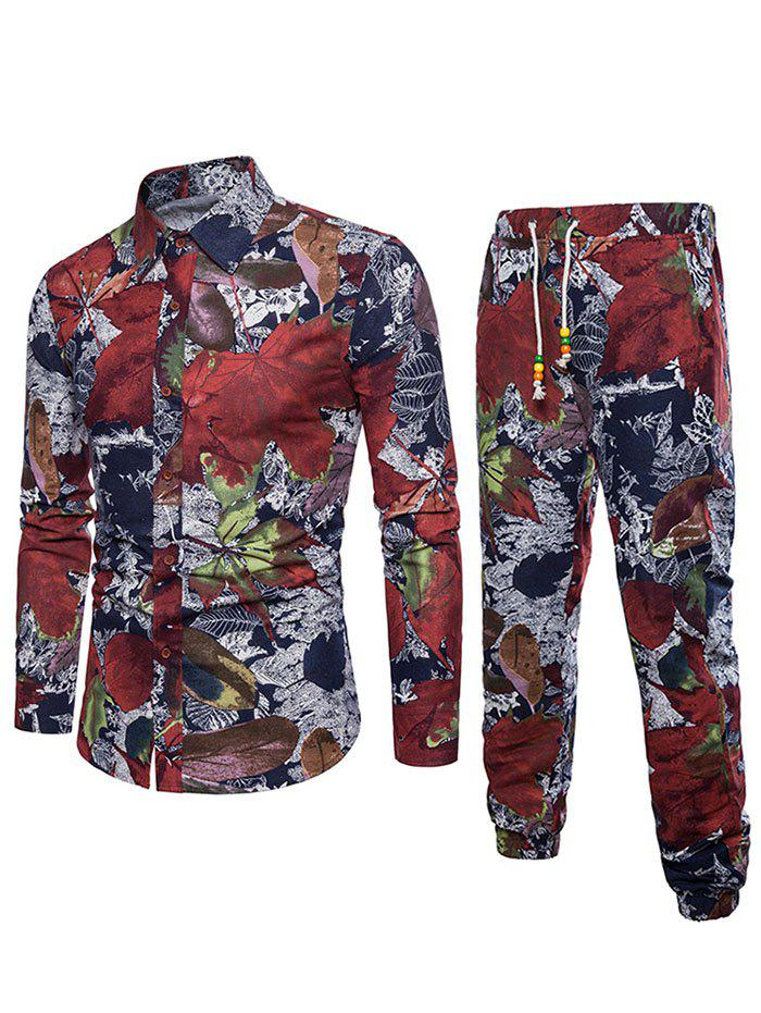 Affordable Flowers Leaves Print Casual Shirt with Jogger Pants