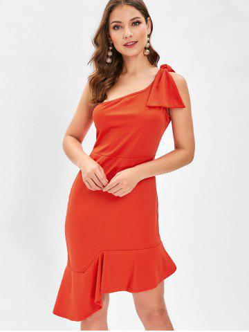 One Shoulder Bowknot Fishtail Dress