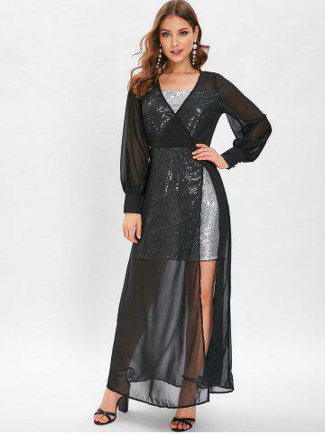Sequin High Slit See Through Maxi Dress