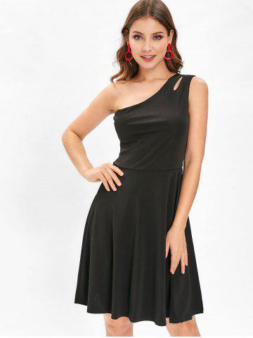 Cut Out One Shoulder Flare Dress