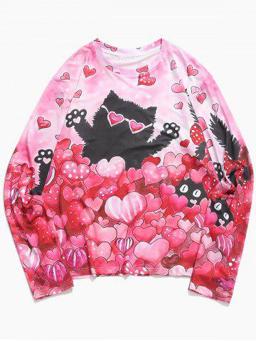 Valentine's Day Hearts Cat Print Casual T-shirt