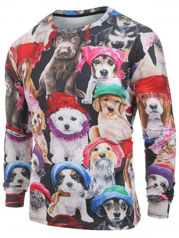 Long Sleeves Cats with Caps Print Casual T-shirt - MULTI - XS