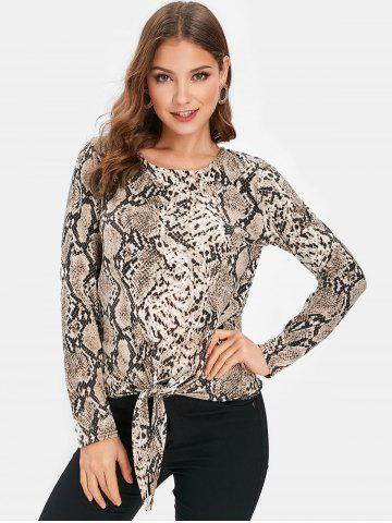 Snake Print Long Sleeve Knotted Top