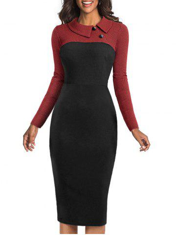 Houndstooth Panel Button Bodycon Dress