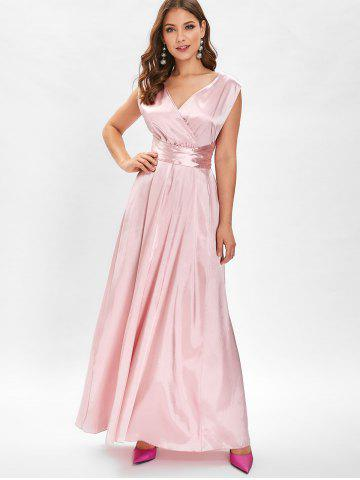V Neck Open Back Maxi Party Dress